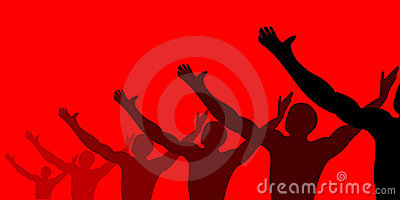 People celebrating in red background