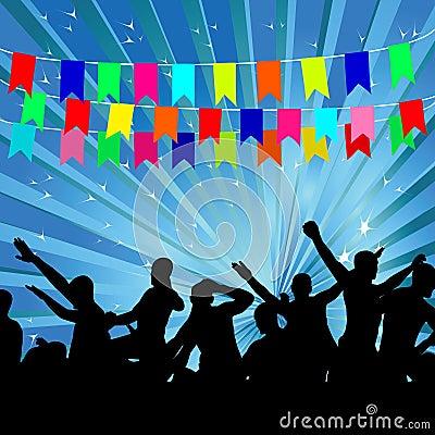 People on a celebratory background