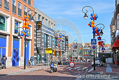 People on the celebratory street   in Dordrecht, Editorial Stock Photo