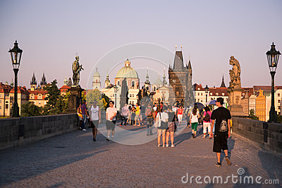 People on the Charles Bridge, Prague Editorial Image