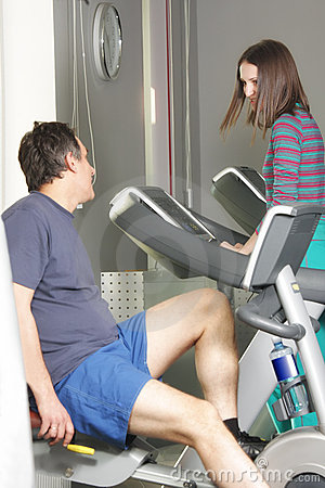 People chatting at workout