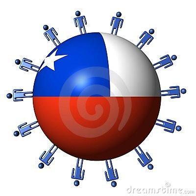 People and Chilean flag sphere