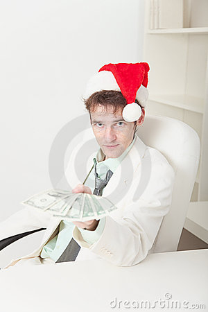 People in Christmas hat gives us money