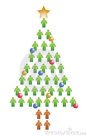People christmas tree illustration