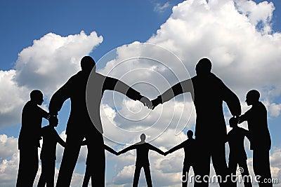 People circle group on cloud sky