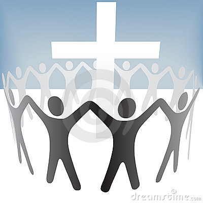 People Circle Hold Up Hands Gather Around a Cross