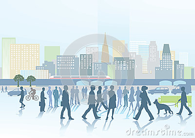 People and city