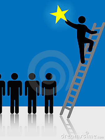 People Climb Ladder Rising Star Symbol