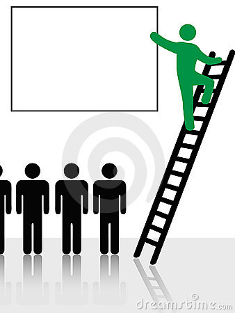 People Climb Ladder Sign Background