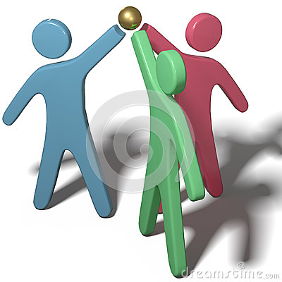 People collaborate join hands teamwork