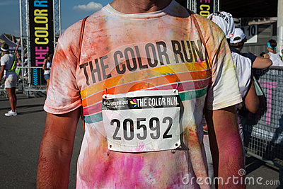 People at The color Run event in Milan, Italy Editorial Photography