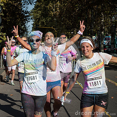 People at The color Run event in Milan, Italy Editorial Stock Image