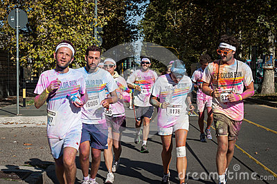 People at The color Run event in Milan, Italy Editorial Stock Photo