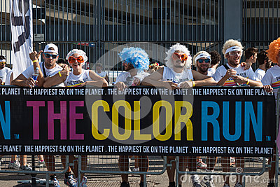 People at The color Run event in Milan, Italy Editorial Photo