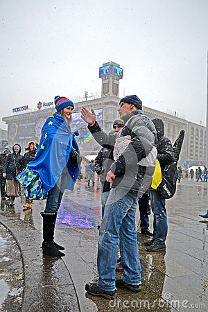People communicate on Euro maidan meeting in Kiev, Ukraine, Editorial Stock Image