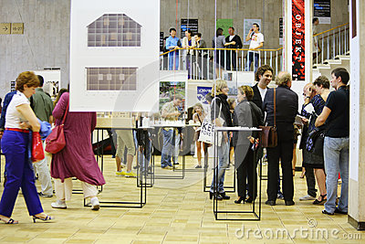 People communicate at International Exhibition of Architecture and Design ARCH MOSCOW Editorial Stock Photo