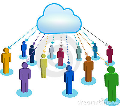 People communicating in  cloud