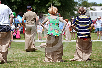 People Compete In Sack Race At Spring Festival Editorial Stock Photo
