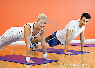 People completing push ups
