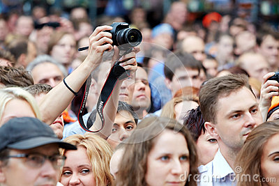 People at concert of Chaif rock-band Editorial Photo