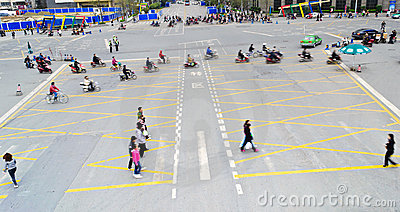 People crossing street Editorial Stock Image