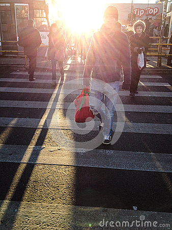 People crossing street Editorial Image