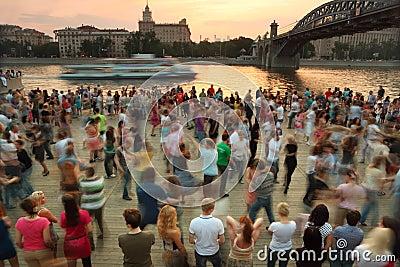 People dance on Frunzenskaya embankment Editorial Image