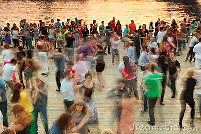 People dance on Frunzenskaya embankment Editorial Stock Image