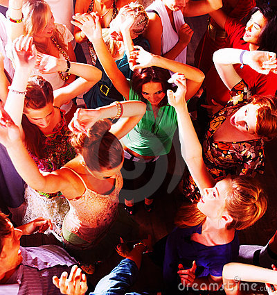 People dancing in a bar or nightclub at a party