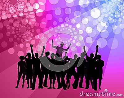 People dancing - disco atmosphere - pink & violet