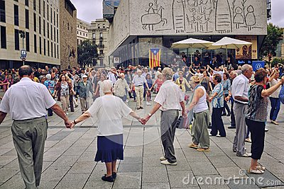People dancing national dance Sardana in Barcelona, Spain Editorial Stock Photo