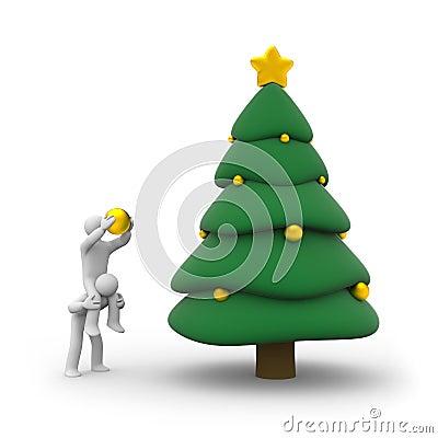 People decorate Christmas tree