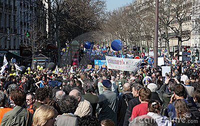 People demonstrate in Paris Editorial Stock Image