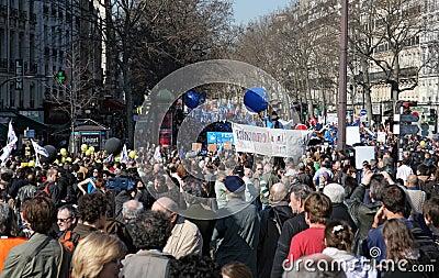 People demonstrate in Paris Editorial Stock Image