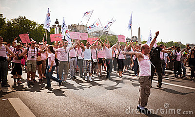 People demonstrating against AIDS Editorial Stock Image