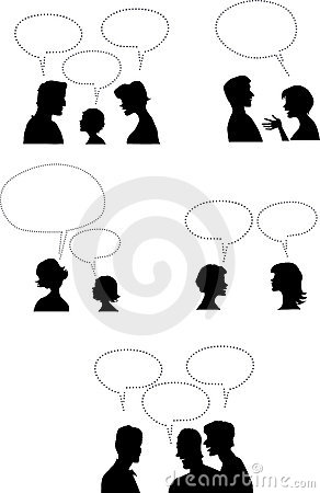 People with dialogue balloons