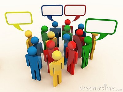 People of different culture talking in group
