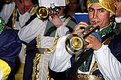 People disguised 20.- Brass band Editorial Image