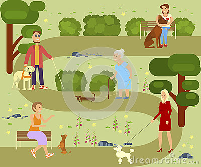 People with dogs Vector Illustration