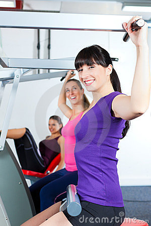 People doing strength or sports training in gym