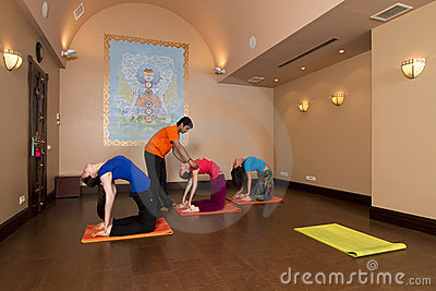 People doing yoga in the hall Editorial Stock Photo
