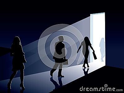 People and door