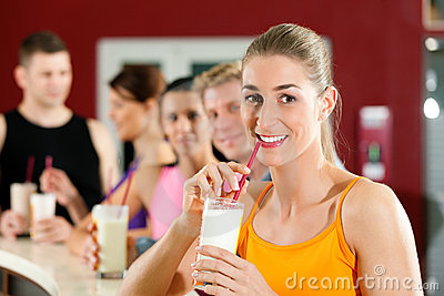 People drinking protein shake