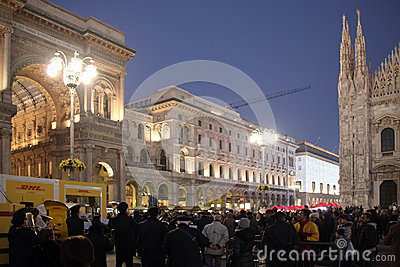 People in Duomo Square during Christmas holidays, Milano Editorial Stock Image
