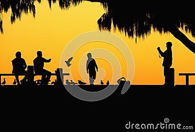 People in the dusk sketch