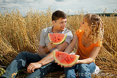 People eat watermelon