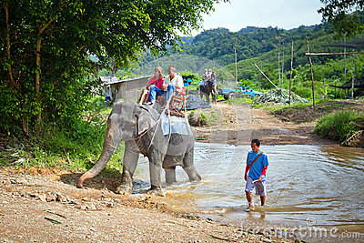 People on the elephant trekking in Khao Sok National Park Editorial Stock Photo