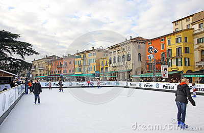 People enjoying ice skating rink Editorial Stock Photo
