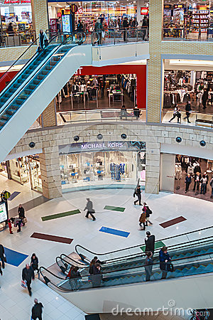 People enter to Metropolis shopping center in Moscow, Russia Editorial Photo