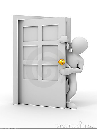 People entering the door